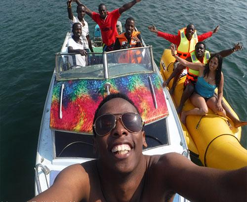 Banana Boat Ride at Ssese Islands Beach Hotel