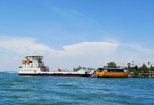 A ferry setting off from Entebbe to Ssese Islands